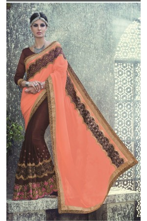Party-wear-Brown-Peach-color-saree