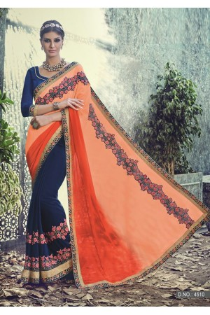 Party-wear-Peach-Blue-color-saree