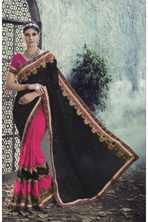 Party-wear-Pink-Black-2-color-saree