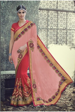 Party-wear-Red-Pink-2-color-saree