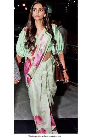Bollywood Sonam Kapoor Mint green lotus print saree
