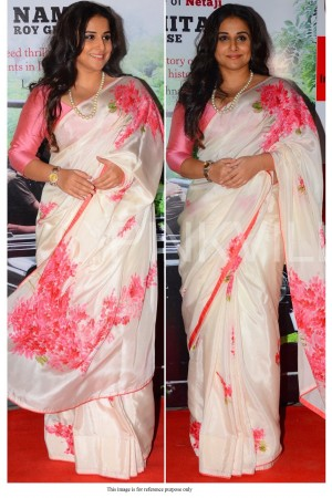 Bollywood Vidya Balan american crepe white floral saree