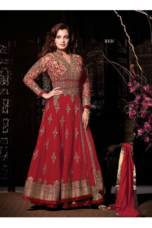 Dia mirza Red wedding wear anarkali