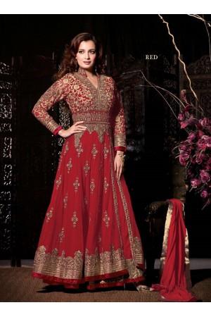 Dia mirza Red wedding wear anarkali