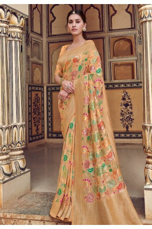 Beige silk festival wear saree 3303