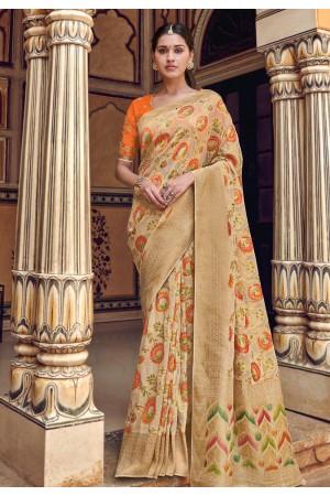 Beige silk festival wear saree 3311