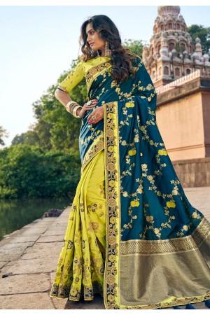 Blue silk embroidered half and half saree 3807