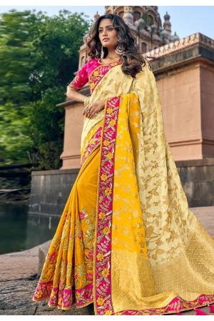 Cream silk embroidered festival wear saree 3806