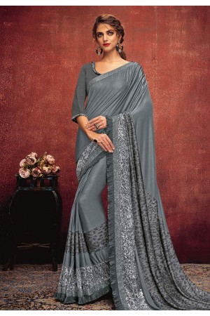 Gray lycra festival wear saree 11304