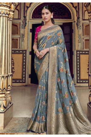 Gray silk party wear saree 3314