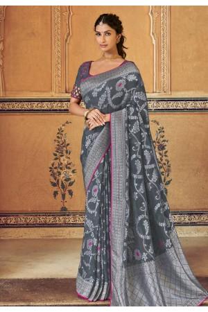 Gray silk saree with blouse 3310