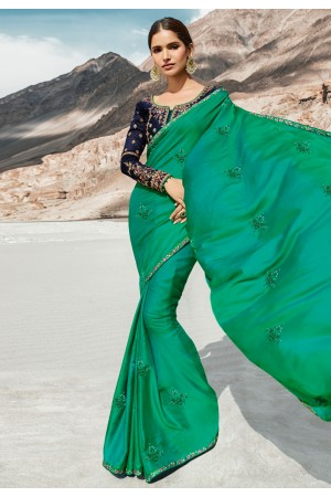 Green barfi silk festival wear saree 80006
