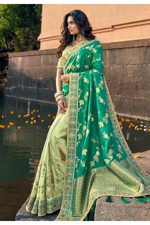 Green silk embroidered half and half saree 3808