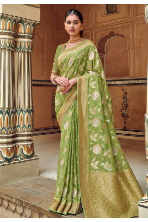 Green silk festival wear saree 3307