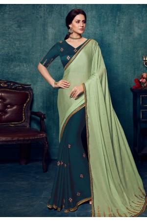 Light green silk half and half saree 2174