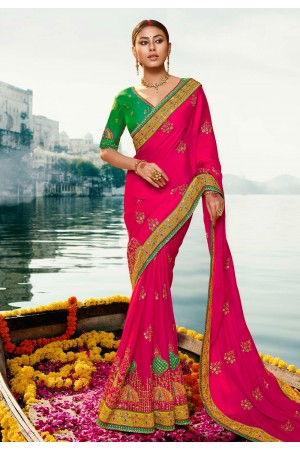 Magenta barfi silk embroidered festival wear saree Palash9035