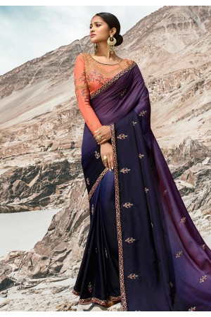 Navy blue barfi silk party wear saree 80005