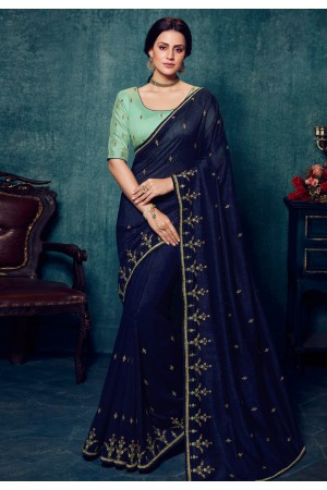 Navy blue silk saree with blouse 2176