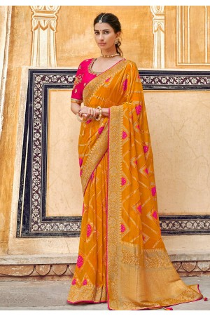 Orange silk festival wear saree 3301