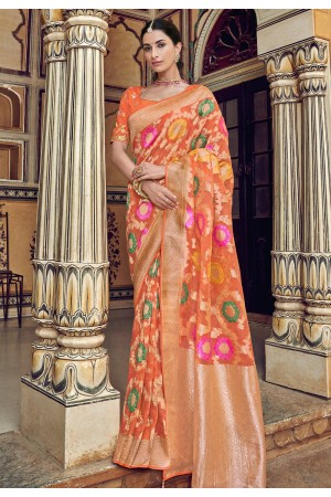 Orange silk saree with blouse 3306