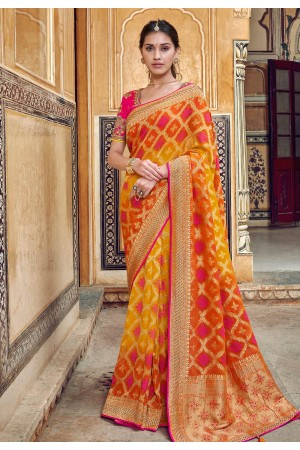 Orange silk saree with blouse 3312
