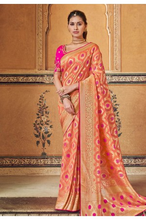 Peach silk party wear saree 3313