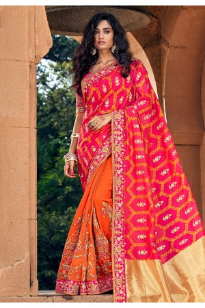 Pink silk embroidered festival wear saree 3802