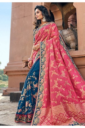 Pink silk embroidered half and half saree 3801
