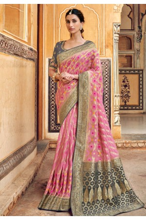 Pink silk party wear saree 3305