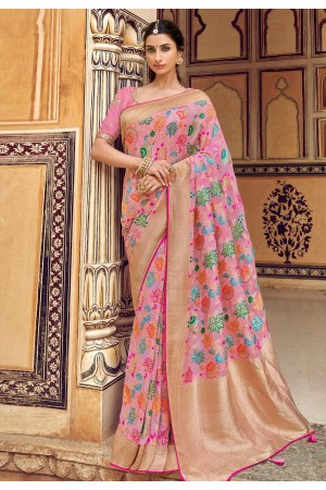 Pink silk saree with blouse 3304