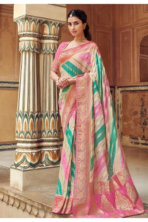 Pink silk saree with blouse 3308