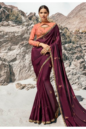 Purple barfi silk party wear saree 80003