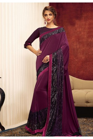 Purple lycra saree with blouse 11317