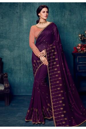 Purple silk saree with blouse 2178