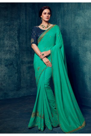 Shaded green silk festival wear saree 2179