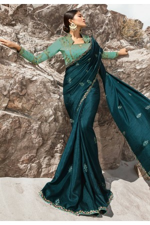 Teal blue barfi silk party wear saree 80009
