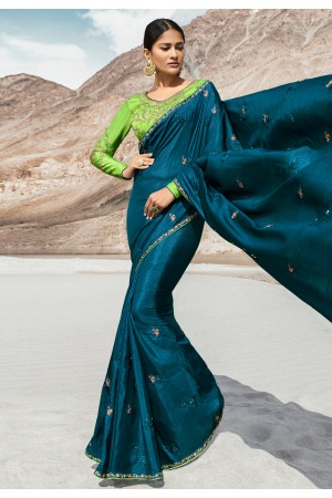 Teal blue silk party wear saree 80001