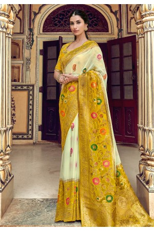 Yellow silk festival wear saree 3309