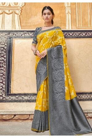 Yellow silk saree with blouse 3302