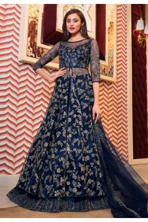 Blue net sequins work party wear lehenga choli 4629