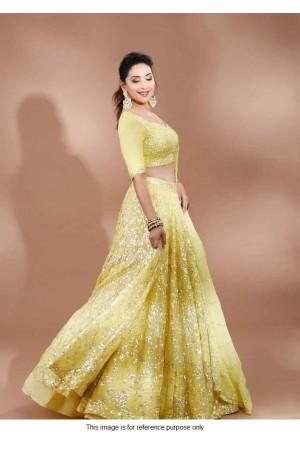 Bollywood Madhuri Dixit Inspired Yellow Lehenga choli