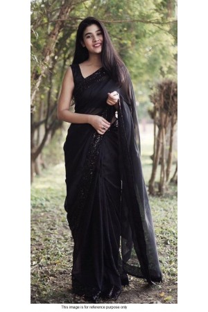 Bollywood model Black georgette sequins saree
