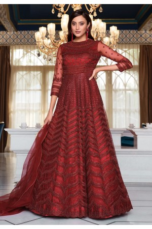 Maroon net embroidered long anarkali suit 4622