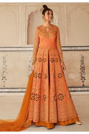 Orange net long choli lehenga 5604