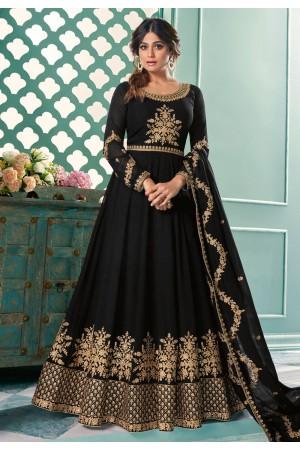 Shamita shetty black georgette long anarkali suit 8340