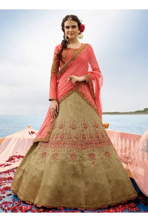 Beige art silk umbrella wedding lehenga 509