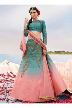 Blue and pink art silk a line wedding lehenga 505