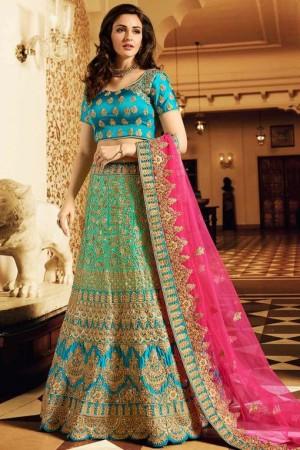 Blue color silk wedding lehenga choli 13076