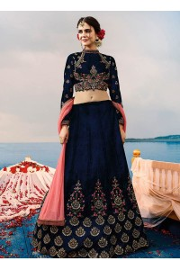 Blue velvet a line wedding lehenga choli 507