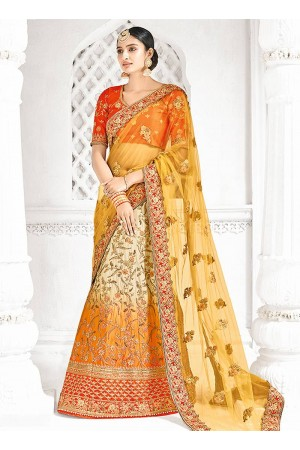 Cream and yellow satin a line wedding lehenga 1110